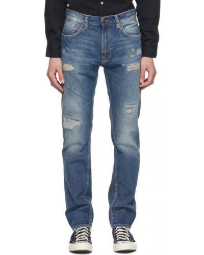 Прямые синие джинсы стрейч Nudie Jeans