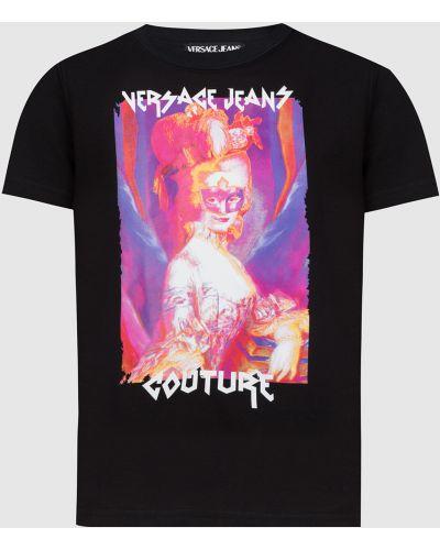 Джинсовая футболка - черная Versace Jeans Couture
