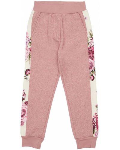 Bawełna różowy joggery z kieszeniami z mankietami Monnalisa