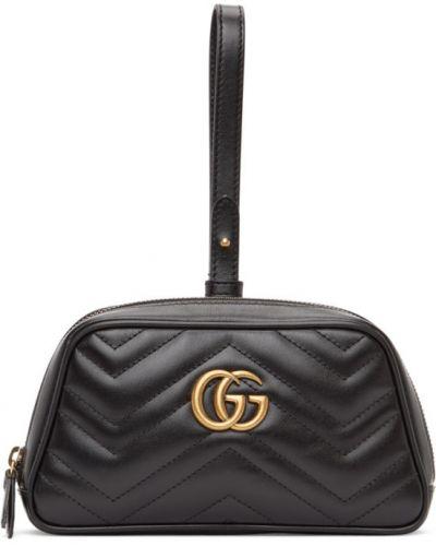 Z paskiem skórzany czarny torba z łatami Gucci