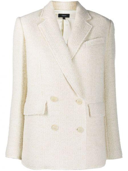 Белый удлиненный пиджак двубортный с карманами Theory