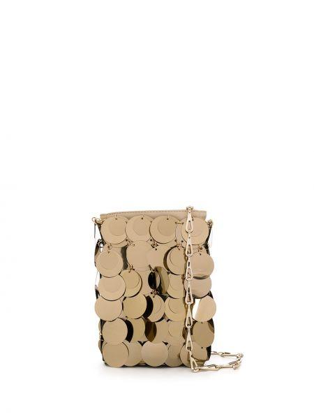 Z paskiem torba crossbody z prawdziwej skóry złoto z łatami Paco Rabanne