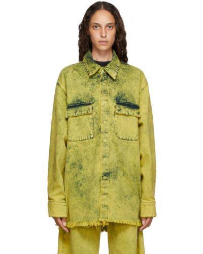 Żółty bawełna bawełna z rękawami koszula jeansowa Marques Almeida