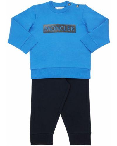 Bawełna niebieski bawełna bluza na gumce Moncler