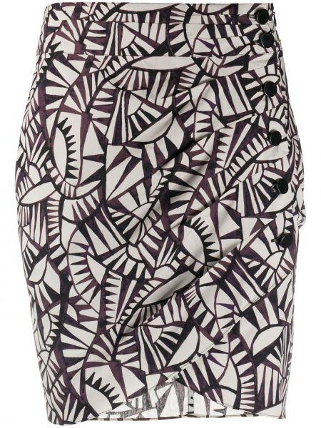 Ватная хлопковая серая приталенная юбка мини Ba&sh