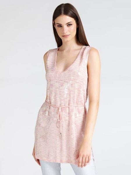 Różowa tunika bez rękawów z dekoltem w serek Guess