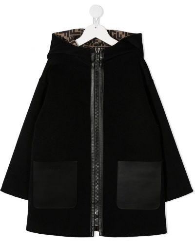 Шерстяное черное пальто классическое с капюшоном Fendi Kids