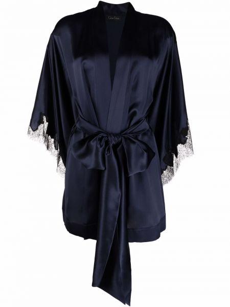 Кружевной синий халат атласный Carine Gilson