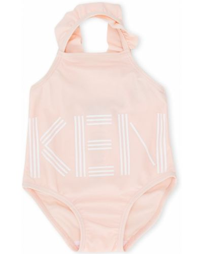 Розовое боди с оборками без рукавов Kenzo Kids