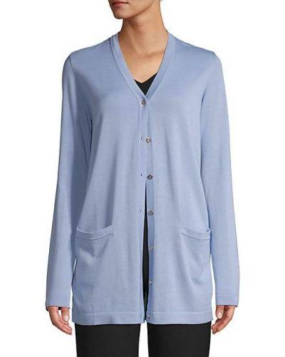 Синий кардиган с карманами с длинными рукавами Versace Collection