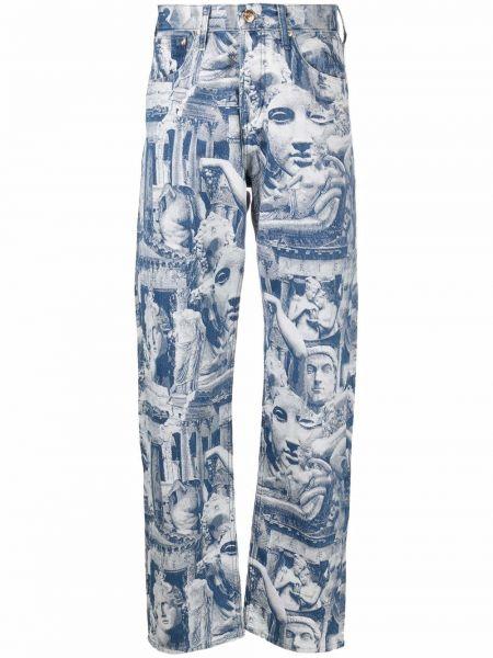 Синие прямые джинсы жаккардовые классические Aries