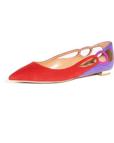 Кожаные балетки с острым носом на каблуке Aquazzura