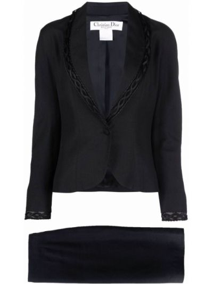 Czarna lniana długa spódnica Christian Dior