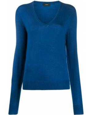 Синий длинный свитер с вырезом в рубчик Joseph