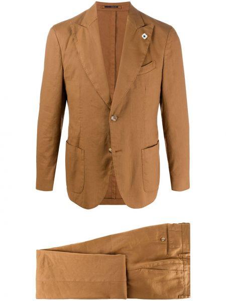 Костюмный коричневый льняной костюм Lardini