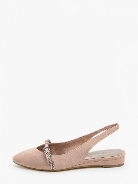 Замшевые туфли с открытой пяткой бежевый Tamaris