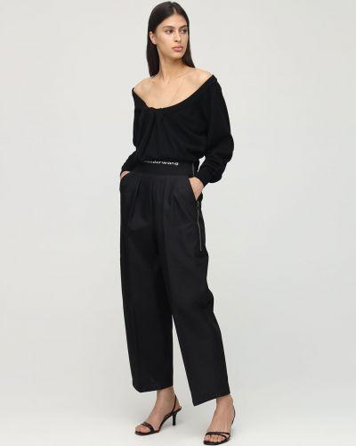 Czarny bawełna bawełna spodnie rozciągać Alexander Wang