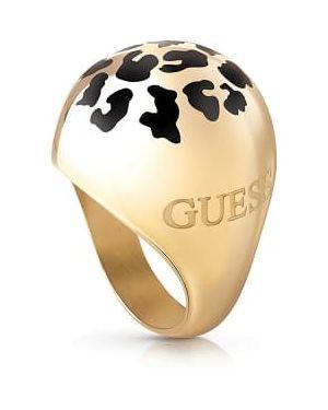 Szary złoty pierścionek z printem Guess