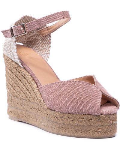 Różowe sandały skorzane Castaner