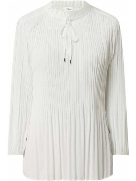 Bluzka z falbaną z falbanami - biała S.oliver Black Label