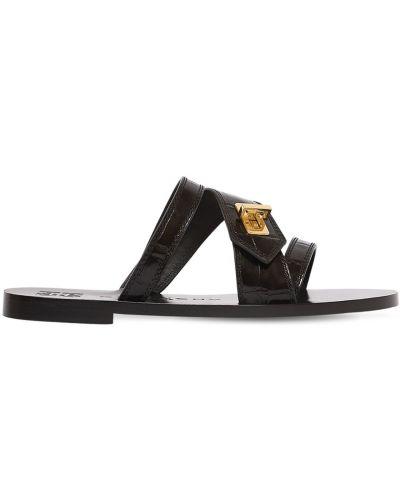 Czarny sandały z klamrą z prawdziwej skóry na pięcie Givenchy