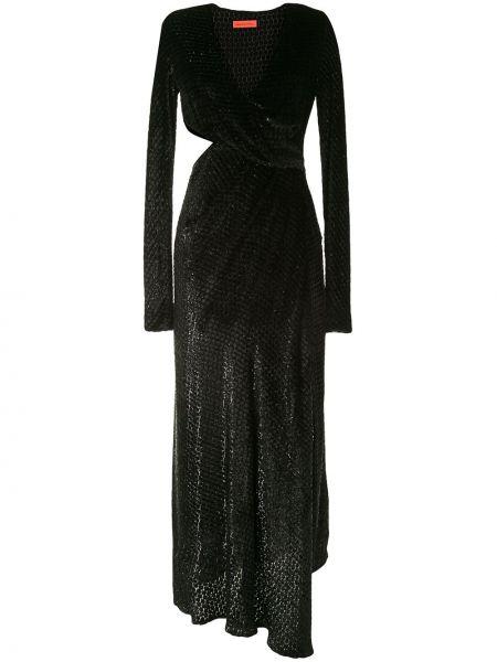 Шелковое черное платье с V-образным вырезом на молнии Manning Cartell