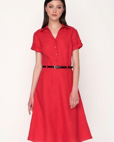 Платье миди весеннее красный Garmoniya