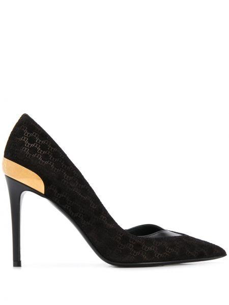 Золотистые черные туфли-лодочки без застежки металлические Balmain