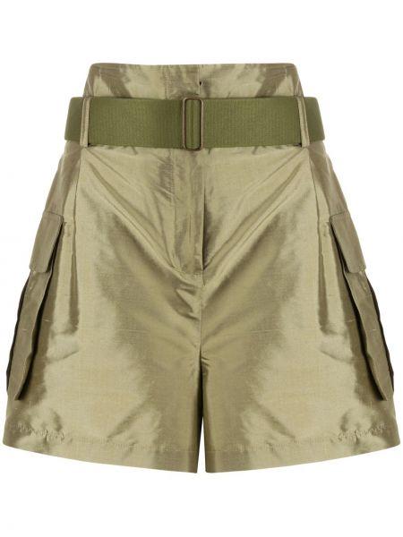 Зеленые шелковые шорты с карманами Erika Cavallini