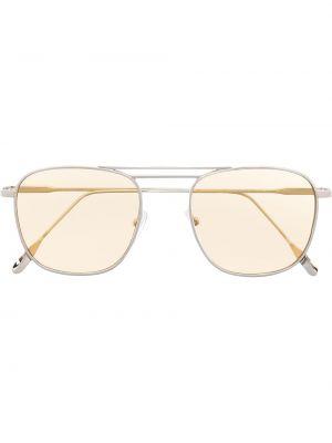 Желтые солнцезащитные очки круглые металлические Eleventy