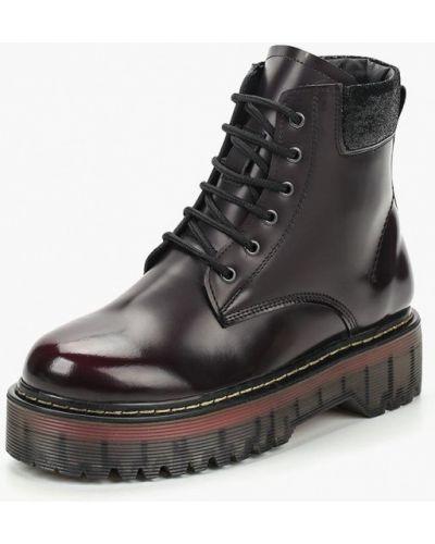 Кожаные ботинки осенние бордовые Hcs