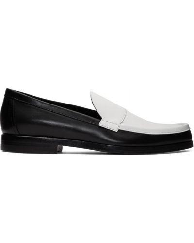 Czarny skórzany loafers okrągły Pierre Hardy