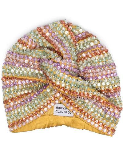 Żółty turban z wiskozy z paskami Maryjane Claverol