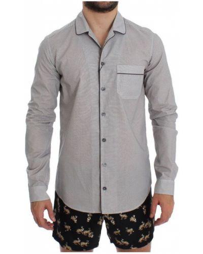 Biały t-shirt bawełniany zapinane na guziki Dolce And Gabbana