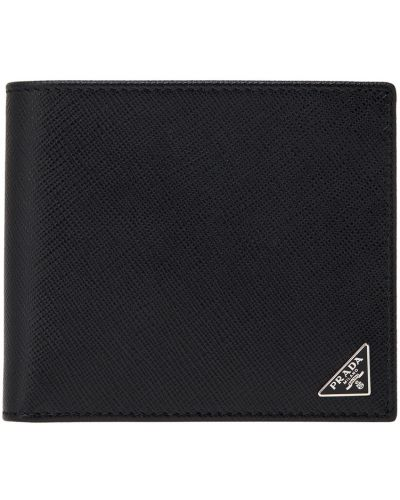 Кожаный кошелек с карманами с тиснением Prada