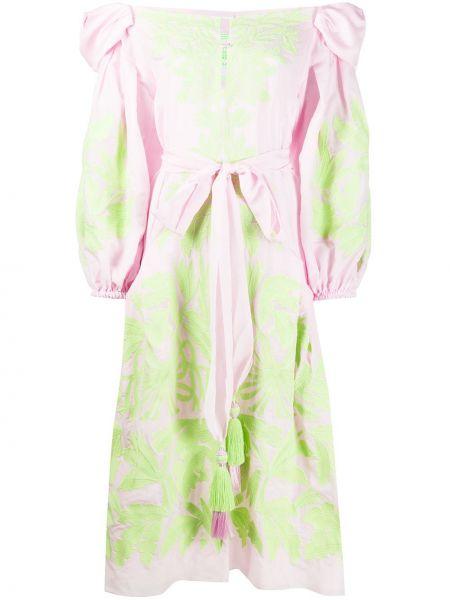 Шелковое платье миди - зеленое Yuliya Magdych