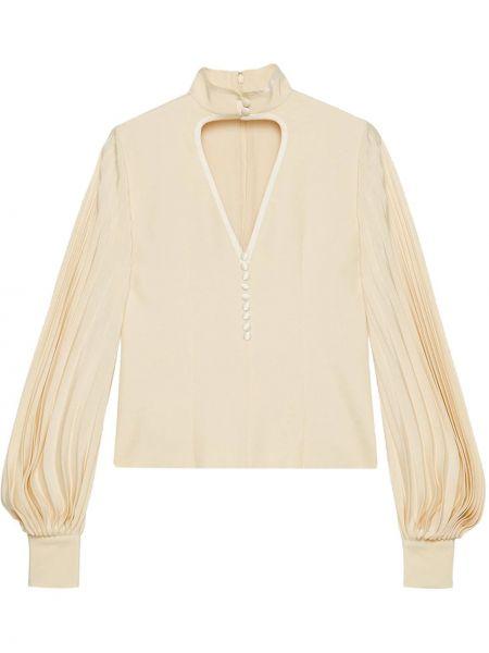 Bluzka biała z kołnierzem Gucci