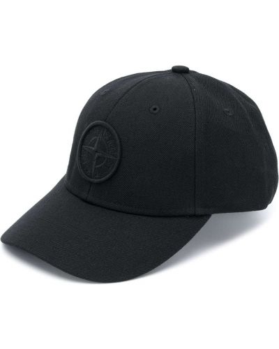 Bawełna wełniany czarny czapka z daszkiem z łatami Stone Island