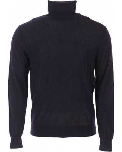 Prążkowany niebieski sweter bawełniany Armani Exchange