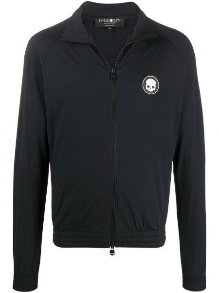 Czarna długa kurtka z długimi rękawami z printem Hydrogen