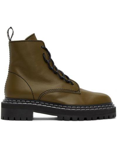 Skórzany czarny buty na pięcie z kołnierzem okrągły Proenza Schouler