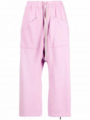 Укороченные брюки - розовые Rick Owens Drkshdw
