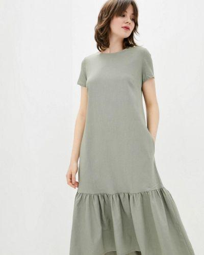 Прямое серое платье А-силуэта Ricamare