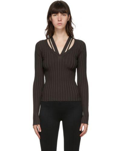 Sweter z dekoltem w szpic z wiskozy rozciągać z kołnierzem Helmut Lang