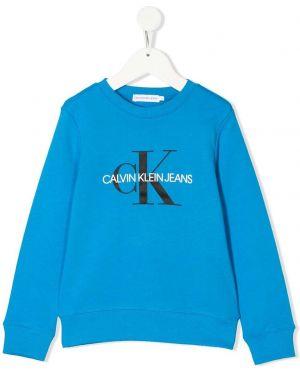 Свитшот с логотипом синий Calvin Klein Kids