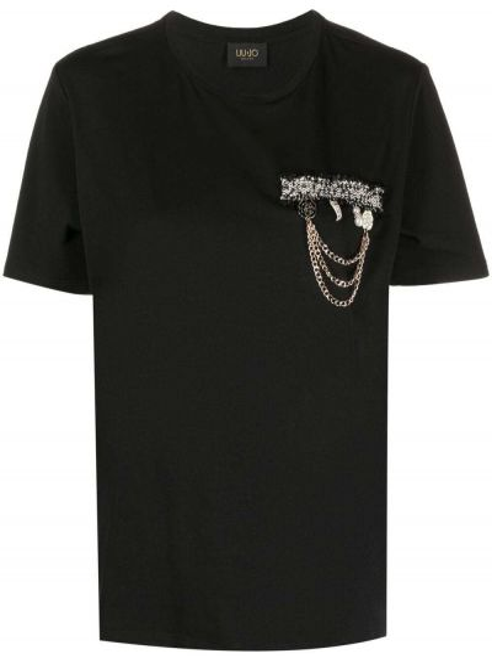 T-shirt bawełniana - czarna Liu Jo