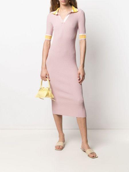Розовое трикотажное платье мини с вырезом Iceberg