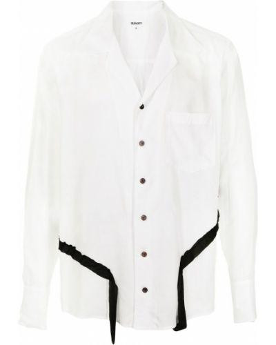 Biała koszula z długimi rękawami materiałowa Sulvam