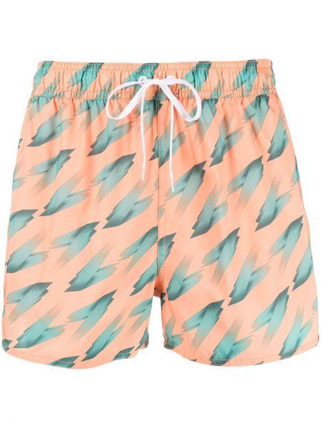 Оранжевые льняные шорты для плаванья с карманами Adidas