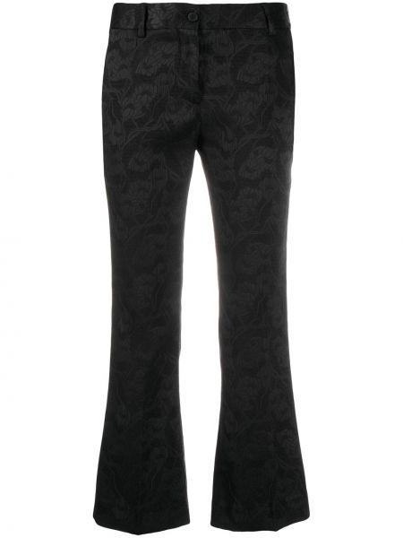Расклешенные черные брюки на молнии с вышивкой Alberto Biani